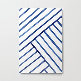 Watercolor lines pattern | Navy blue Metal Print