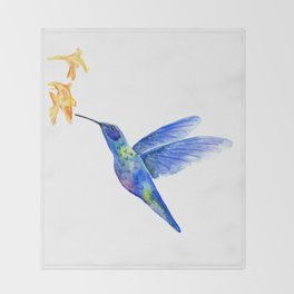 WATERCOLOR HUMMINGBIRD AND FLOWERS Throw Blanket