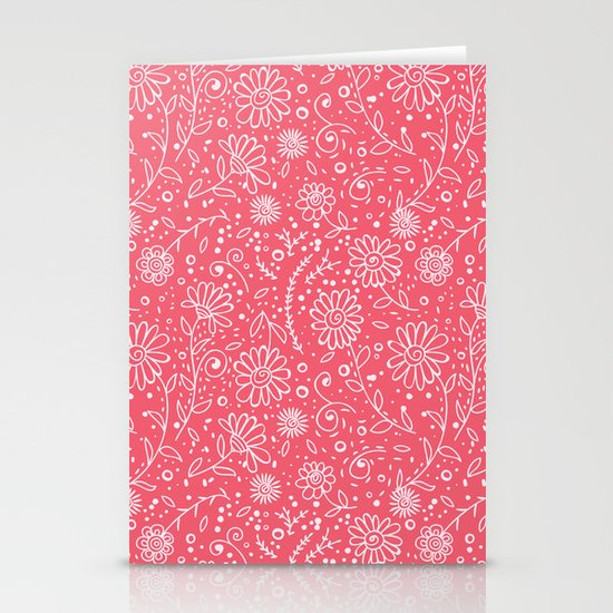 Red doodle floral pattern Stationery Cards