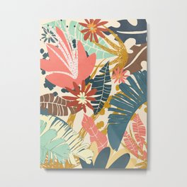 Tropical Flowers and Leaves Metal Print