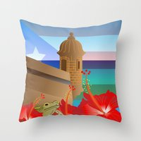 puerto rico Throw Pillows featuring Puerto Rico by PADMA DESIGNS PR