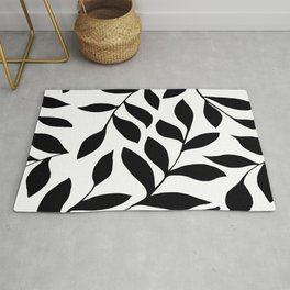 BLACK AND WHITE LEAVES PATTERN Rug