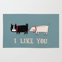 cute Area & Throw Rugs featuring I Like You. by gemma correll