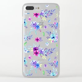 Watercolor Purple Floral Pattern Clear iPhone Case
