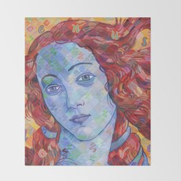 Variations On Botticelli's Venus - No. 3 (Primary Colors) Throw Blanket
