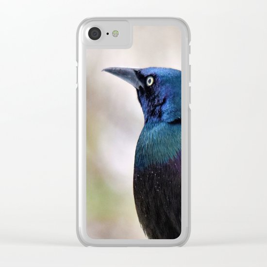 Yonder  (male Common Grackle) Clear iPhone Case