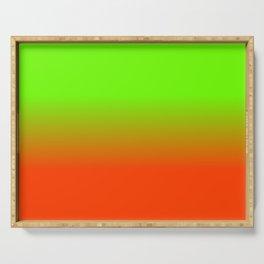 Neon Green and Neon Orange Ombré  Shade Color Fade Serving Tray