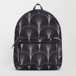 Art Deco Midnight Pattern Dark Blue Gold Backpack
