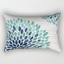 Blooms and Stripes, Aqua and Navy Rectangular Pillow