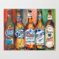 Bud light Miller Lite Coors Light Busch Light Yuengling Light Combo Beer Art Print Canvas Print