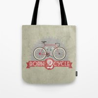 brompton Tote Bags featuring Born To Cycle by Wyatt Design
