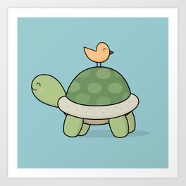 Kawaii Cute Tortoise And Bird Art Print