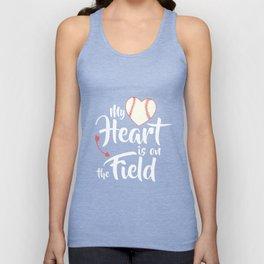 My Heart Is On That Field Shirt Mom Football Baseball Aqua Unisex Tank Top