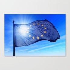European Union flag waving on the wind Canvas Print