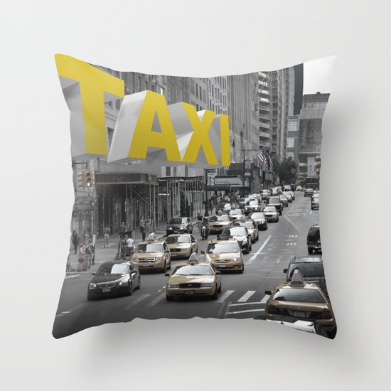 New York Taxi in the air Throw Pillow