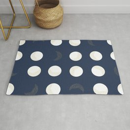 Shining Golden and White Colored Dot and Moon With Navy Background Rug
