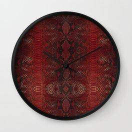 Red Python Snakeskin pattern Wall Clock