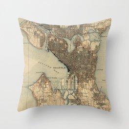 Vintage Map of Seattle Washington (1908) 2 Throw Pillow