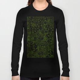 Clockwork Turquoise & Lime / Cogs and clockwork parts lineart pattern Long Sleeve T-shirt