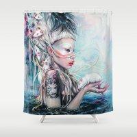 rat Shower Curtains featuring Yolandi The Rat Mistress  by Tanya Shatseva