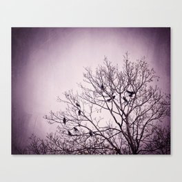 Dark Purple Birds Tree Branches Photography, Violet Black Bird Trees Nature Spooky Canvas Print