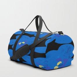 Blue Retro Flowers on Black Background #decor #society6 #buyart Duffle Bag