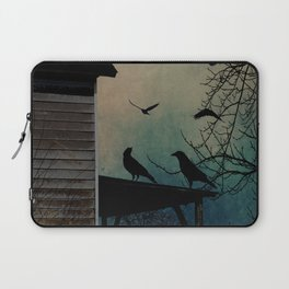 Rustic Black Birds Crows on Abandoned House Porch Teal Art A605 Laptop Sleeve