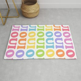 Oui - Cute French Quote Pattern Rug
