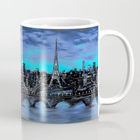 blankets Mugs featuring Eiffel Tower ~ Paris France by RokinRonda