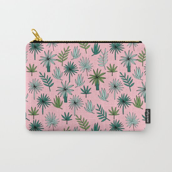 Palm tropical illustration by andrea lauren palm leaves palm trees desert island Carry-All Pouch