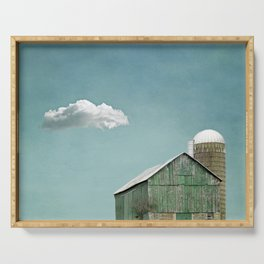 Green Barn and a Cloud Serving Tray