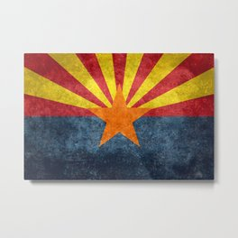 Flag of Arizona, Vintage Retro Style Metal Print
