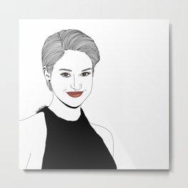 Shailene Woodley Illustration Metal Print