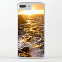 In Waves - Waves Crashing Into Rocks at Sunset In Big Sur Clear iPhone Case