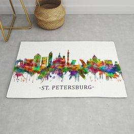 St. Petersburg Russia Skyline Rug