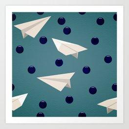 Blueberries & Paper Airplanes Art Print