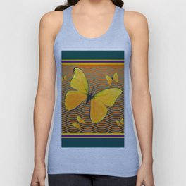 Dark Teal Yellow Butterflies Pattern Unisex Tank Top