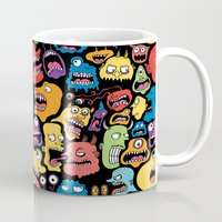 monster Mugs featuring Monster Faces Pattern by Chris Piascik