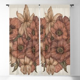 Poppies and Lilies Blackout Curtain