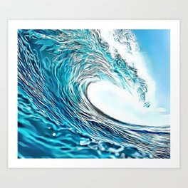 Turquoise Wave Airbrush Artwork Art Print