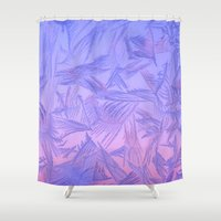 jack frost Shower Curtains featuring Frost on a window by ib photography