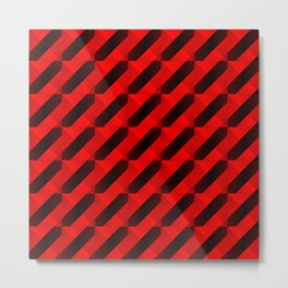 Graphic stylish texture with dark stripes and red squares in zigzag shapes. Metal Print