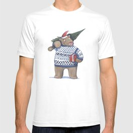 Bear with new year tree T-shirt