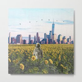 Astronaut in the Field-New York City Skyline Metal Print