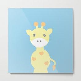 Giraffe - Blue Metal Print