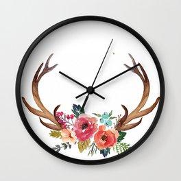 Floral Deer Antlers Wall Clock