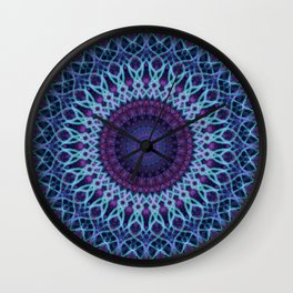 Mandala in dark and light blue tones Wall Clock