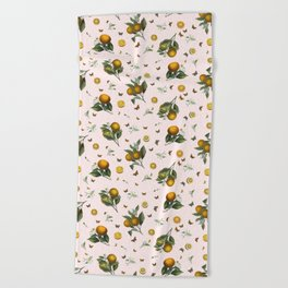Oranges and Butterflies in Blush Beach Towel