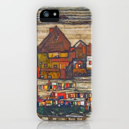Egon Schiele - Houses with laundry (Suburb II) 1914 iPhone Case