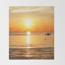 Yellow Sunset Ocean Throw Blanket